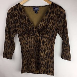 CHAPS Classics Leopard Print 3/4 Sleeve Top Size S